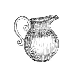 Sketch of milk jug isolated hand drawn vector