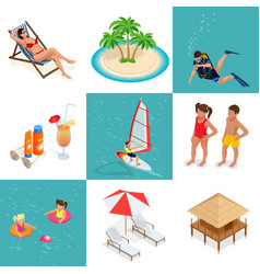 Summer set travel elements of sandy beach flat vector