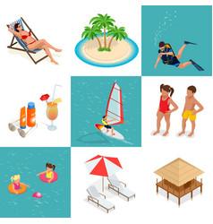 summer set travel elements of sandy beach flat vector image
