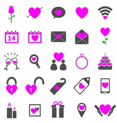 Valentines day color icons on white background vector image vector image