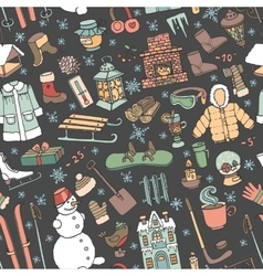 Winter doodle seamless patternColored elements vector image