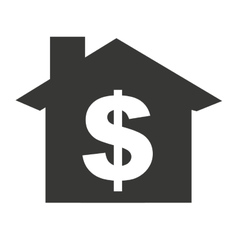 House silhouette with money symbol icon vector