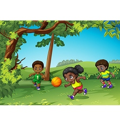 Three kids playing ball in the park vector