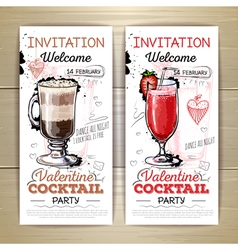 Valentine cocktail party poster Invitation design vector image