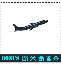 Airplane icon flat vector