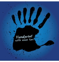 Handprint with seven fingers vector