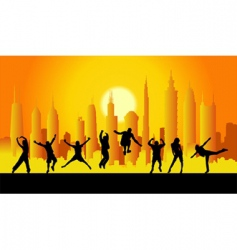 people in city vector image