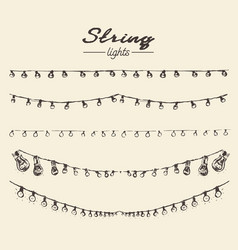 set drawn string lights ement vector image