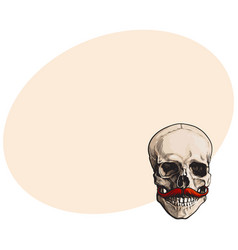 Hand drawn human skull with curled upward hipster vector