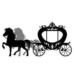 Carriage pulled by two horses vector