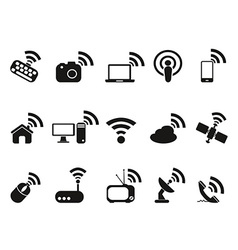 Black wireless technology icons set vector
