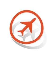 Plane sign sticker orange vector