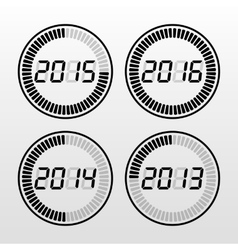 Digital years time icon set vector
