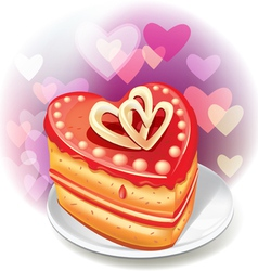 Heart-shaped cake vector