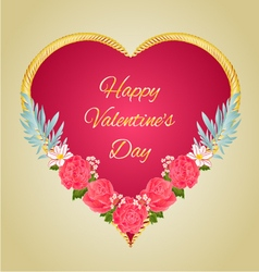 Happy valentine day heart and pink roses vector
