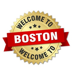 Boston 3d gold badge with red ribbon vector