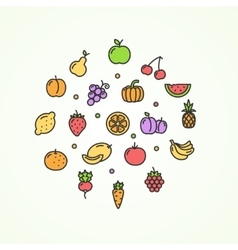 Fruits and vegetables round design template thin vector