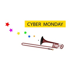 A symphonic trombone blowing cyber monday flag vector