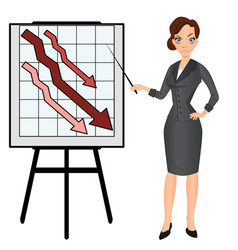 Angry sad unhappy business woman with graph down vector