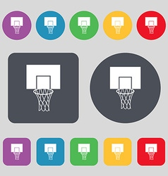 Basketball backboard icon sign a set of 12 colored vector