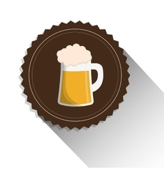 Beer mug glass foam alcohol label shadow vector