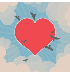 Birds flying around heart in the sky vector image