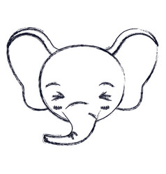 Blurred silhouette cute face of elephant happiness vector