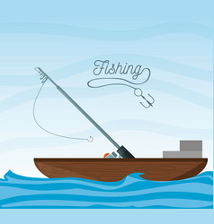 boat over sea with rod vector image