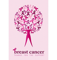 Breast cancer support poster woman ribbon tree vector
