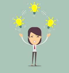 Businesswoman showing she has an idea vector
