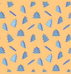 christmas tree in the snow pattern vector image