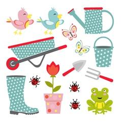 Cute gardening set vector image