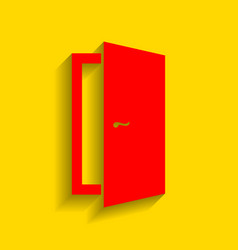 Door sign red icon with soft vector
