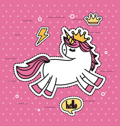 fantasy unicorn with crown dots background vector image