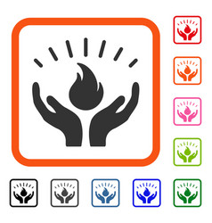 Fire care hands framed icon vector