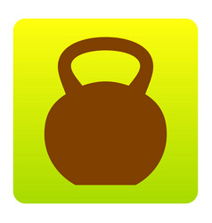 Fitness dumbbell sign brown icon at green vector