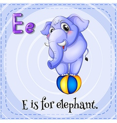 Flashcard of e is for elephant vector