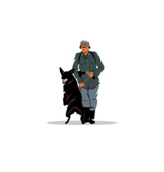 Germany soldier with dog sign vector