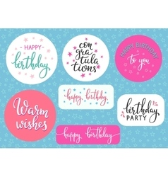 Happy birthday lettering sign quote typography vector