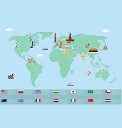 Infographic world landmarks on map vector