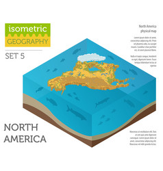 Isometric 3d north america physical map elements vector