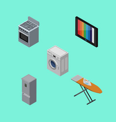 isometric appliance set of cloth iron laundry vector image vector image