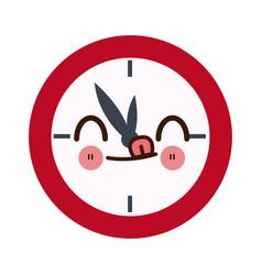 Kawaii school clock hour time watch icon vector