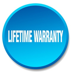 Lifetime warranty blue round flat isolated push vector