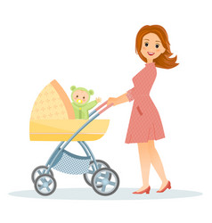 mother with baby in stroller vector image vector image