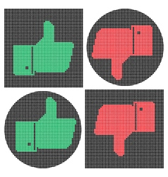 Pixel thumb icons Like icon Dislike icon vector image vector image