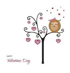 Postcard Happy Valentines Day Fanny owl vector image