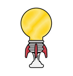 rocket with light bulb shape icon vector image