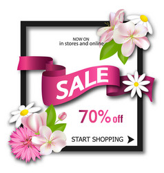 Sale background with pink ribbon and flowers vector