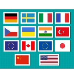 Set of european union usa ukraine china japan vector